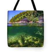 Split Level Reef And Trees With Pier Tote Bag