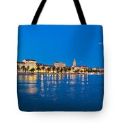 Split Waterfront Blue Hour View Tote Bag