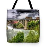 Spokane Falls And Monroe Bridge Tote Bag
