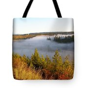 Spokane River Under A Misty Morning Blanket Tote Bag