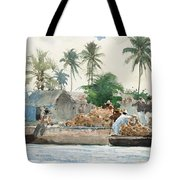 Sponge Fisherman In The Bahama Tote Bag by Winslow Homer