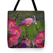 Spoonbill Through The Flowers Tote Bag