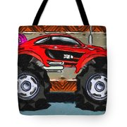 Sports Car Monster Truck Tote Bag