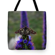 Spotted Moth On Purple Flowers Tote Bag