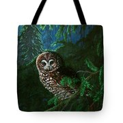 Spotted Owl In Ancient Forest Tote Bag