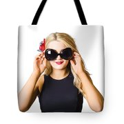 Spray Tan Girl Wearing Goggles. Tanning Beauty Tote Bag