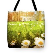 Spring. A Medow Spread With Daisies In Baden-baden, Germany Tote Bag
