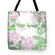 Spring  Background  With Pink Peonies And Flowers.  Tote Bag