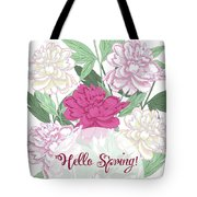Spring  Background With White And Pink Peony Tote Bag