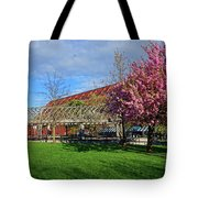 Spring Bloom At Christopher Columbus Park Boston Ma Cherry Blossoms Tote Bag