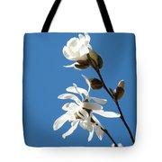 Spring Blue Sky Floral Art Print White Magnolia Tree Baslee Troutman Tote Bag