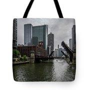 Spring Bridge Lift Scene In Chicago  Tote Bag