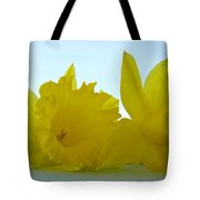 Spring Daffodils Flowers Art Prints Blue Skies Tote Bag