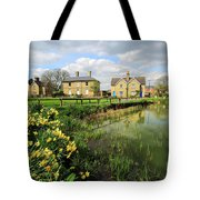 Spring Daffodils, Ramsey Village Pond, Cambridgeshire, England Tote Bag