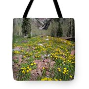 Spring Dandelion And Mountain Landscape Tote Bag
