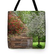 Spring Flowers And The Barn Tote Bag