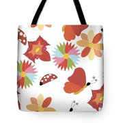 Spring Flowers Pattern Tote Bag