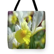 Spring Irises Flowers Art Prints Canvas Yellow White Iris Flowers Tote Bag