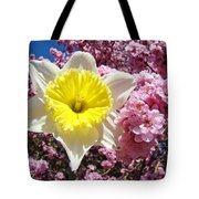 Spring Landscape Pink Tree Blossoms Yellow Daffodils Baslee Troutman Tote Bag