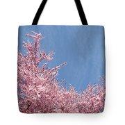 Spring Landscape Pink Trees Blossoms Blue Sky Baslee Troutman Tote Bag
