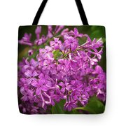 Spring Lilacs On Black Tote Bag