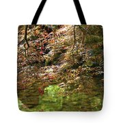 Spring Maple Leaves Over Japanese Garden Pond Tote Bag