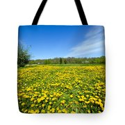 Spring Meadow Full Of Dandelions Flowers And Green Grass Tote Bag