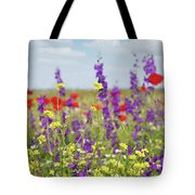 Spring Meadow With Flowers Nature Scene Tote Bag