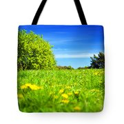 Spring Meadow With Green Grass Tote Bag