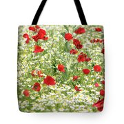 Spring Meadow With Poppy And Chamomile Flowers Tote Bag
