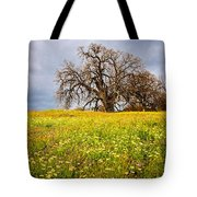 Spring Oak Tree And Wildflowers Tote Bag