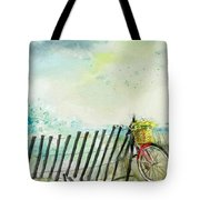Bicycle Ride. Mayflower Storm. Tote Bag