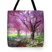 Spring Rhapsody, Happiness And Cherry Blossom Trees Tote Bag