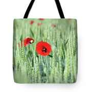 Spring Scene Green Wheat And Poppy Flowers Tote Bag