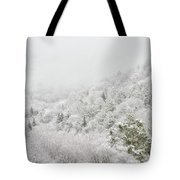 Spring Snow And Fog Highlands Tote Bag