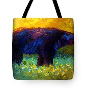 Spring Stroll - Black Bear Tote Bag