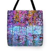 Spring Time In The Woods Abstract Oil Painting Tote Bag