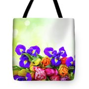 Spring Tulips And Irises Tote Bag