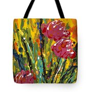 Spring Tulips Triptych Panel 2 Tote Bag