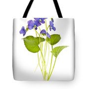 Spring Violets On White Tote Bag by Elena Elisseeva