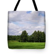 Spring Windy Day On Green Field Tote Bag