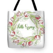 Spring  Wreath With Pink White Tulips Tote Bag