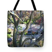Springtime Bridge Through Japanese Maple Tree Tote Bag by Carol Groenen