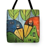 Springtime Lovebirds Tote Bag