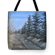 Spruce Trees Along A Snowy Road  Tote Bag