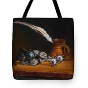Spurs And Hand Made Pottery And Feather Tote Bag