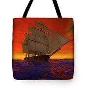 Square-rigged Ship At Sunset Tote Bag