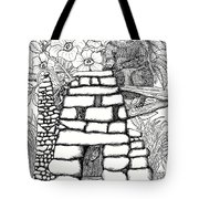 Square Rock Fairy House And Squirrel Tote Bag