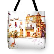 Square View With Clock Tower Tote Bag