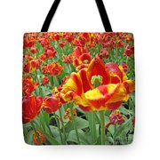 Square Yellow And Red Tulips Tote Bag